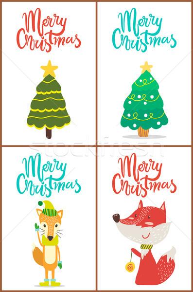Vidám karácsony fák róka díszítések golyók Stock fotó © robuart