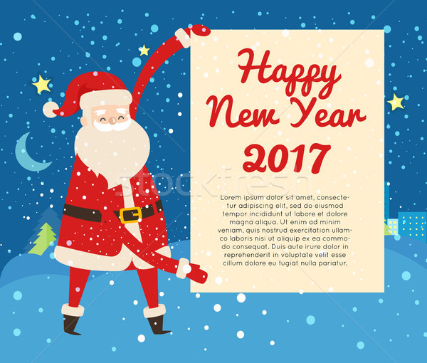 Happy New Year 2017 Postcard from Santa Claus Stock photo © robuart