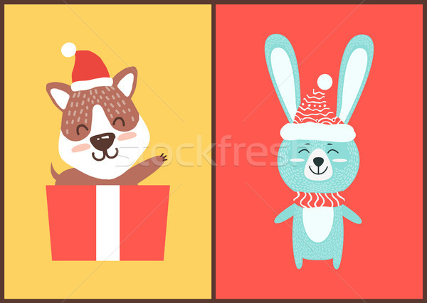 Teddy Bear and Rabbit in Santa Hats Christmas Card Stock photo © robuart