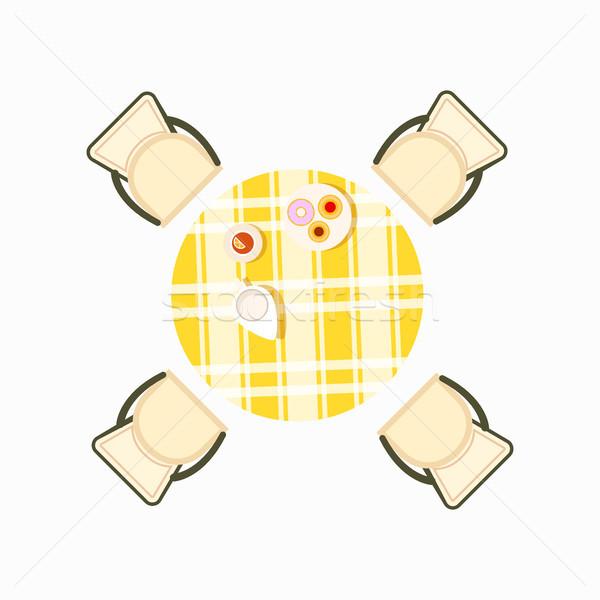 Felszolgált étkezőasztal ikon étel csésze tea Stock fotó © robuart