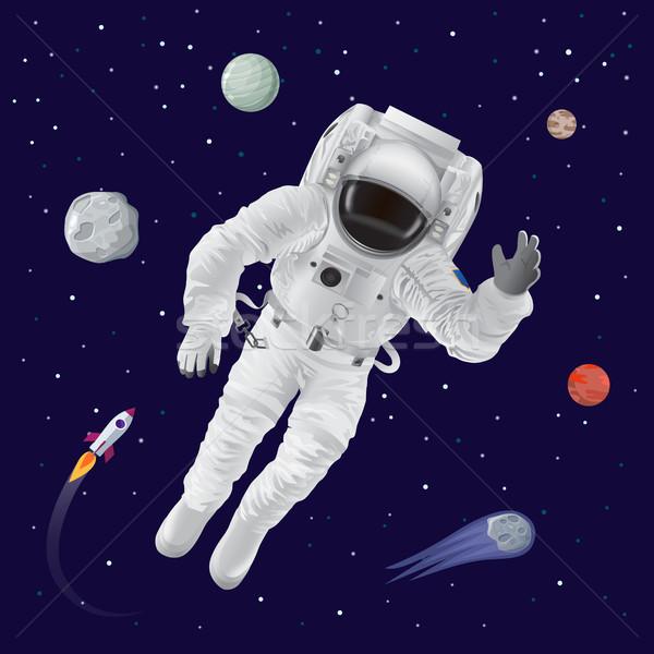 астронавт планеты плакат за Плутон Сток-фото © robuart