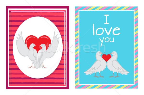 Fehér galambfélék párok szív illusztrációk szett Stock fotó © robuart