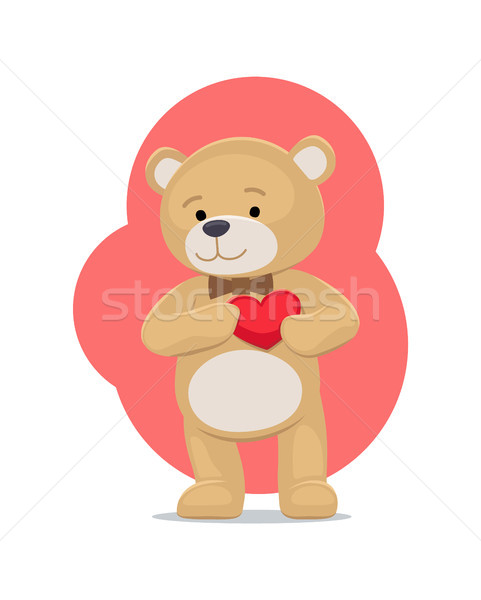 Adorable Teddy Gently Holds Heart on Chest Bear Stock photo © robuart