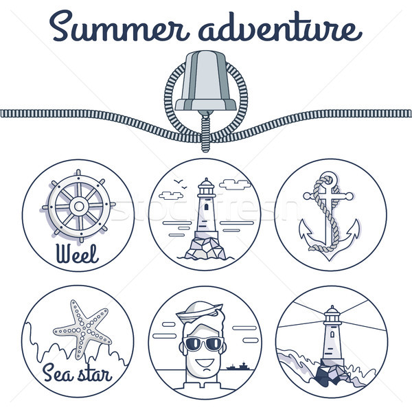 Summer Adventure Poster with Round Sketchy Icons Stock photo © robuart