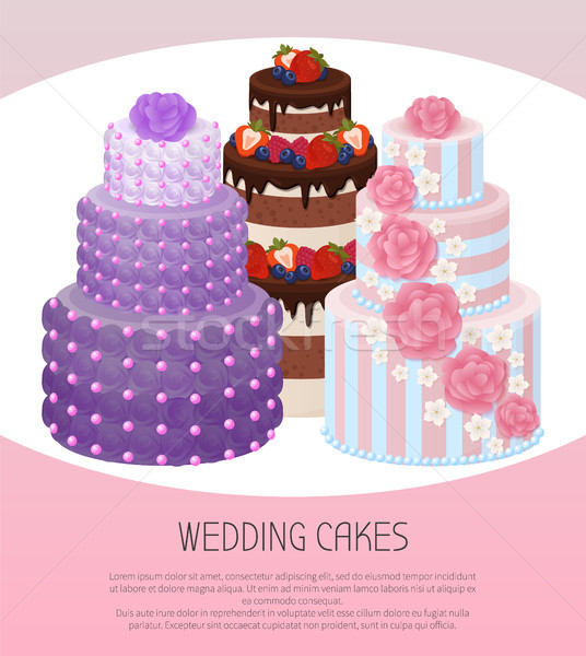 Wedding Cakes Poster Text Vector Illustration Stock photo © robuart