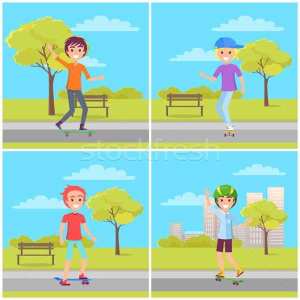 скейтбординга набор плакатов мальчики парка зеленый Сток-фото © robuart