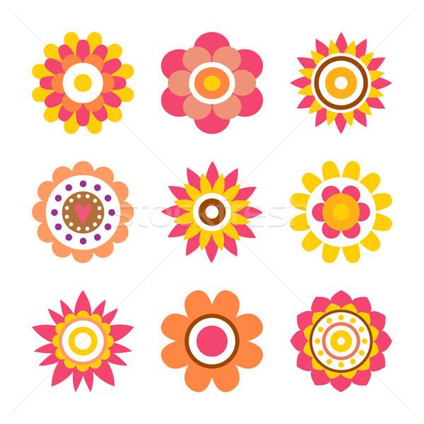 Resumen círculo Cartoon estilo flores círculos Foto stock © robuart