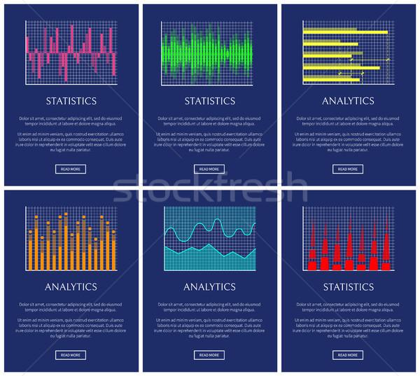 Statisztika analitika szín grafikonok gyűjtemény nyilak Stock fotó © robuart