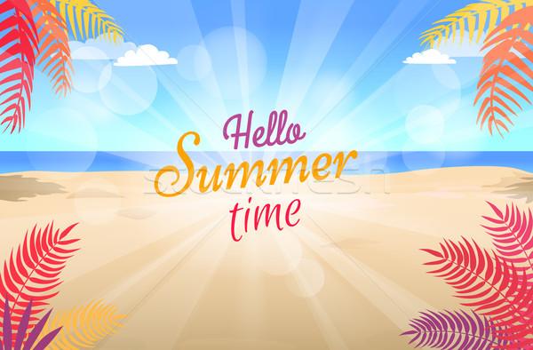 Nyár promóciós poszter zöld pálmafák forró Stock fotó © robuart