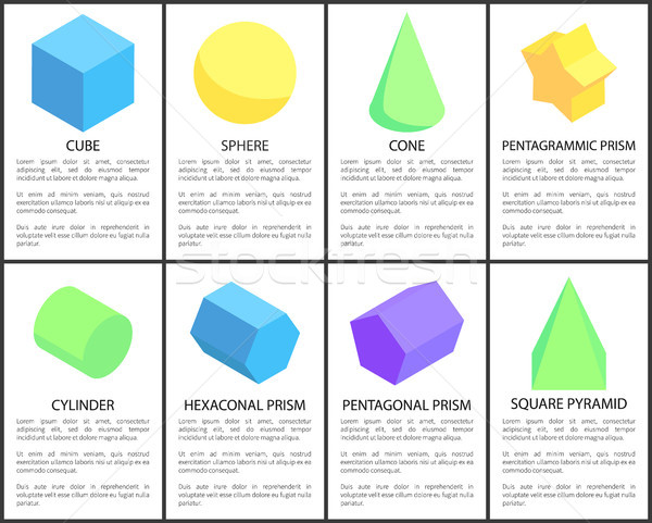 Cube and Sphere Posters Set Vector Illustration Stock photo © robuart