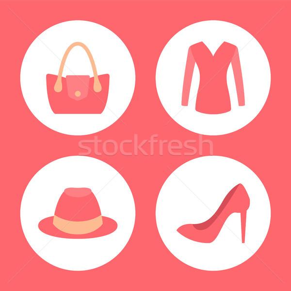Stylish Female Clothes Promotional Emblems Set Stock photo © robuart