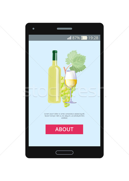 Mobile Application Lets to Order White Wine Vector Stock photo © robuart