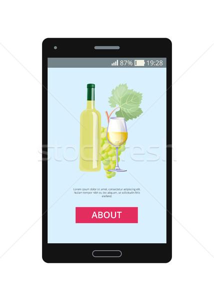 Mobile Anwendung um Weißwein Vektor natürlichen Stock foto © robuart