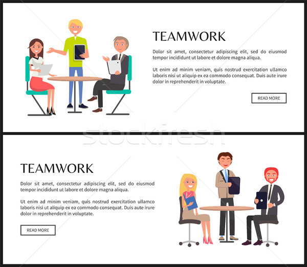 Productive Teamwork to Create Project Web Pages Stock photo © robuart