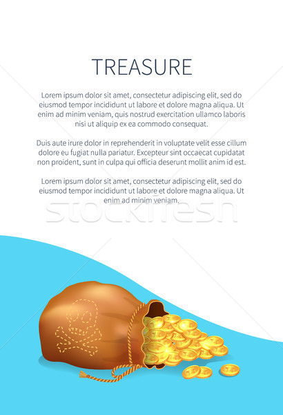 Treasure Poster with Old Sack Full of Golden Coins Stock photo © robuart