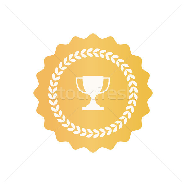 Round Gold Certificate Symbol with Trophy Cup Stock photo © robuart