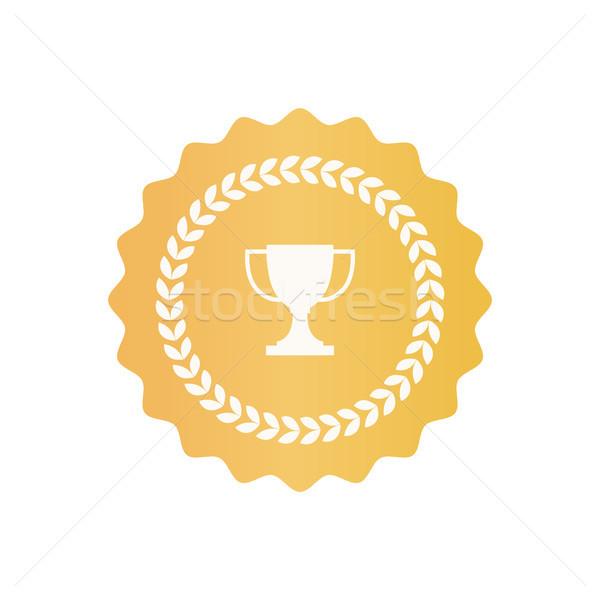 Oro certificato simbolo trofeo Cup alloro Foto d'archivio © robuart