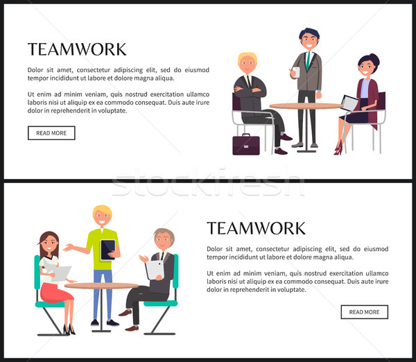 Produtivo trabalho em equipe internet banners templates conjunto Foto stock © robuart