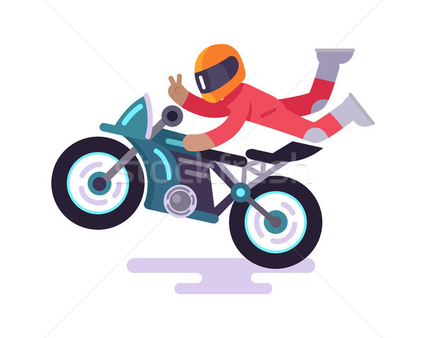 Street Racer Making Tricks on Motorbike Vector Stock photo © robuart