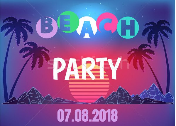 Beach Party Neon Promo Banner in 80s Style Stock photo © robuart