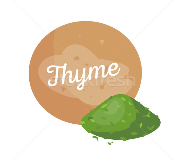 Thyme Spices and Label Poster Vector Illustration Stock photo © robuart