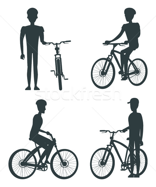 Set of Dark Silhouettes of Bikes and Cyclists Stock photo © robuart