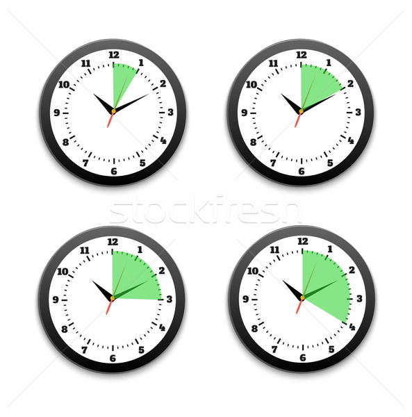 Stok fotoğraf: Siyah · saatler · ikon · ayarlamak · 10