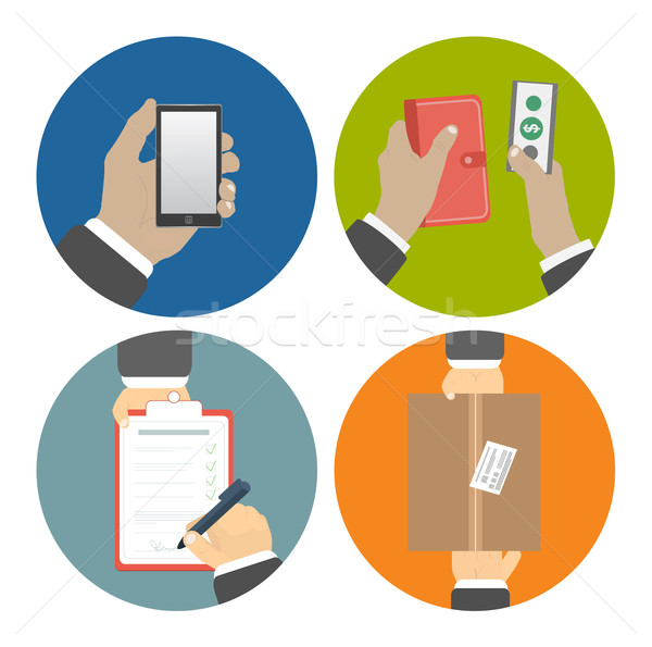 Set of hands clients purchasing Stock photo © robuart