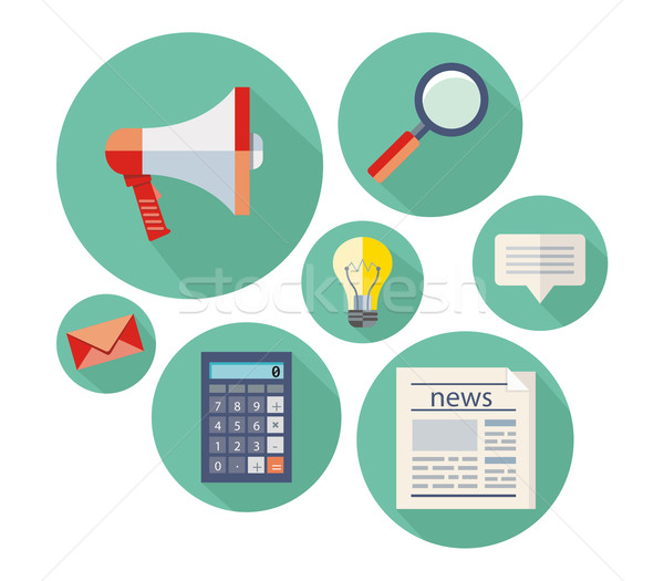 Icon set for office and business objects Stock photo © robuart