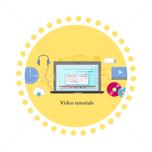 Video tutorial icon flat design style Stock photo © robuart
