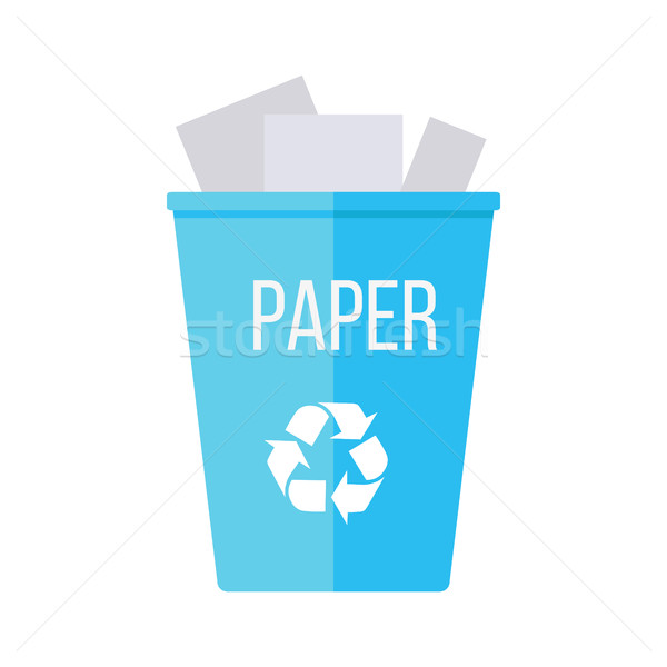 Blue Recycle Garbage Bin with Paper Stock photo © robuart