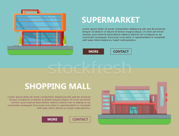 Shopping Mall Web Templates in Flat Design. Stock photo © robuart