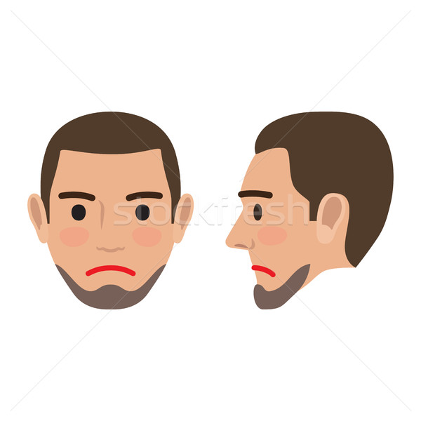 Sad Man Avatar User Pic. Front and Side Head View Stock photo © robuart