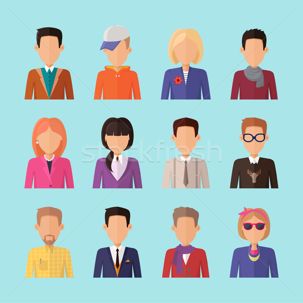 Set of People Characters Avatars in Flat Design. Stock photo © robuart