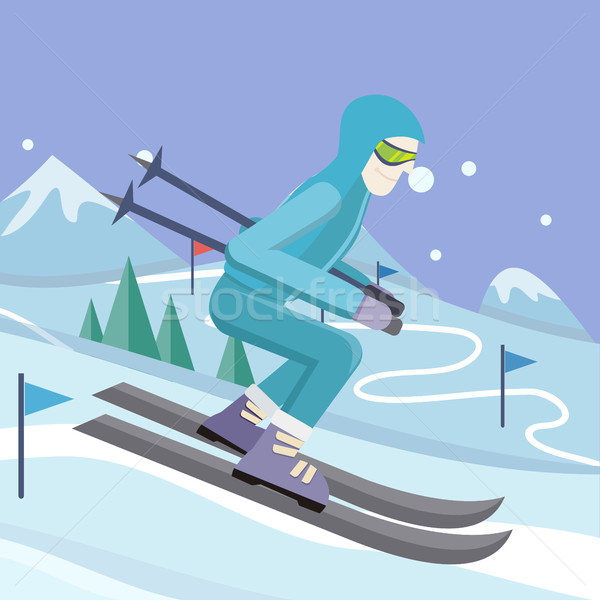 Skier on Slope Vector Illustration in Flat Design Stock photo © robuart