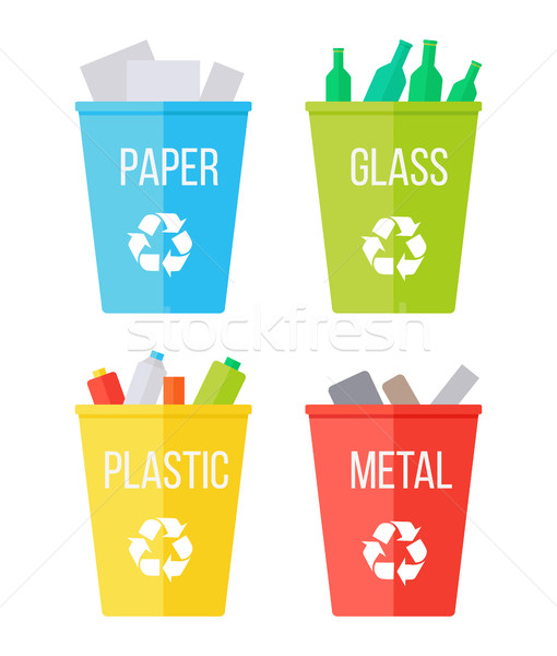 Set of Recycle Garbage Bins. Waste Recycling. Stock photo © robuart