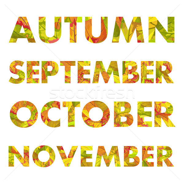 Autumn Months Names Vector Illustrations  Stock photo © robuart