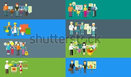 Human Banners Set. People Activities. Vector Stock photo © robuart