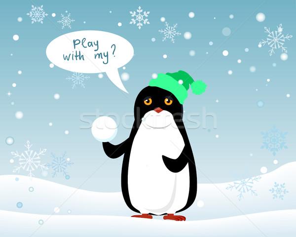 Pinguino animale Hat palla di neve giocare me Foto d'archivio © robuart