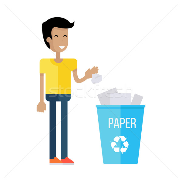 Man Throw the Paper into Blue Recycle Garbage Bin Stock photo © robuart