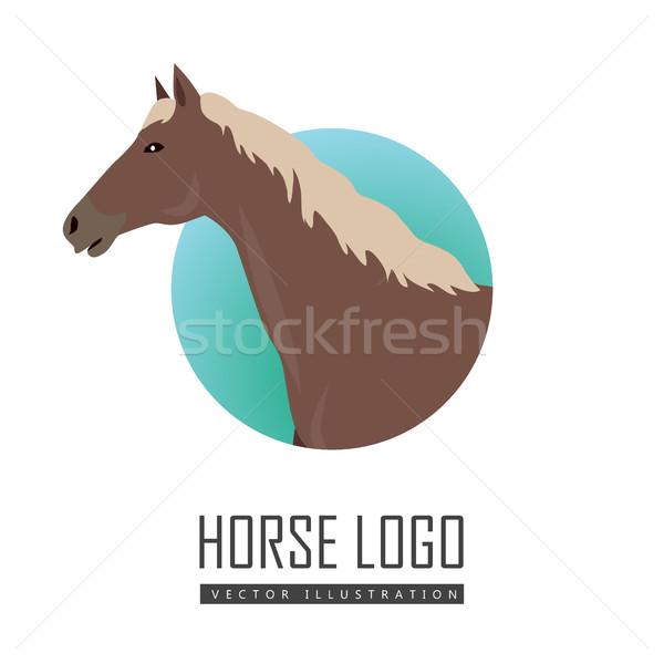 Caballo diseno blanco vector logo Foto stock © robuart