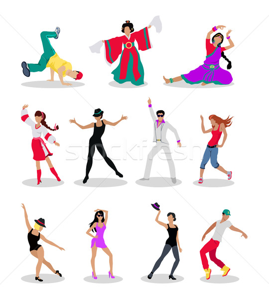 Stock photo: Set of Dancing Peoples Flat Vector Illustrations