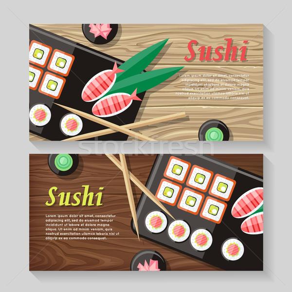 Comida japonesa ilustração teia bandeira Japão sushi Foto stock © robuart