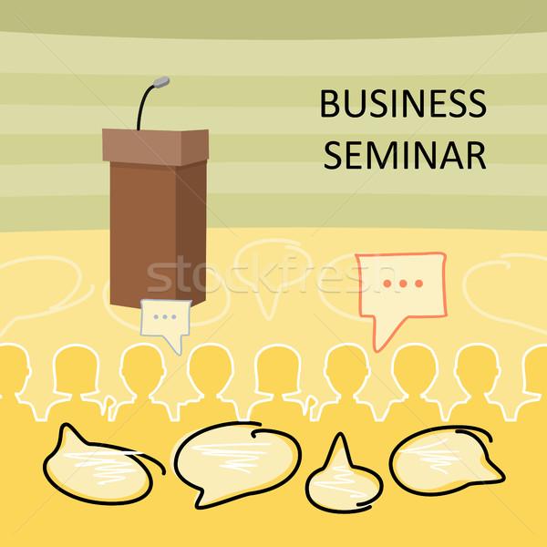 Business Seminar Holz sprechen Mikrofon voll Stock foto © robuart