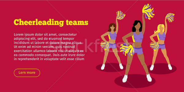 Cheerleading Teams Web Banner. Girls with Pompoms Stock photo © robuart