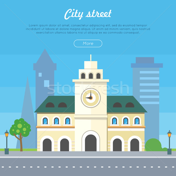 City Street Flat Style Vector Banner Stock photo © robuart