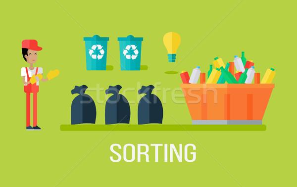 ごみ 男 廃棄物 リサイクル プロセス 異なる ストックフォト © robuart
