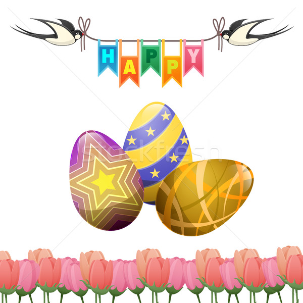 Happy Easter Greeting card Swallows Eggs Tulips Stock photo © robuart