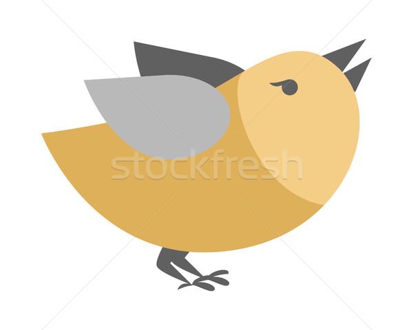 Stock photo: Cartoon Bird Isolated. Abstract Titmouse Bullfinch