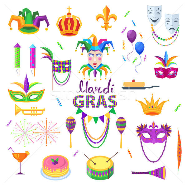 Mardi Gras Carnival Elements Colourful Collection Stock photo © robuart